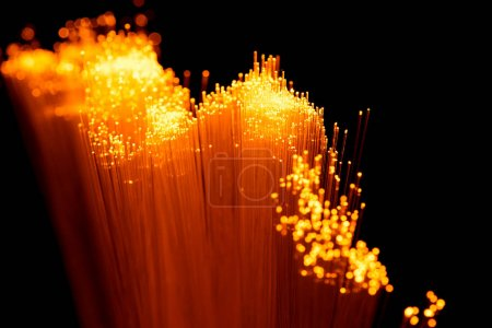 Close up of glowing orange fiber optics texture