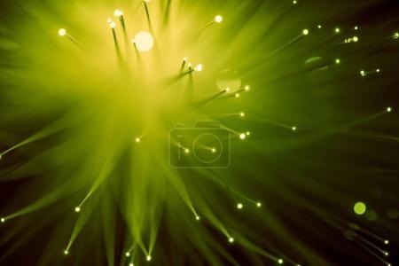 Photo pour Vue de dessus du fond de fibre optique jaune brillant - image libre de droit