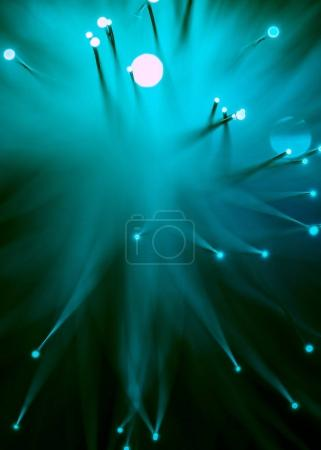 top view of shine blue fiber optics background