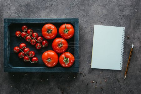 top view of tomatoes in box and notebook on concrete surface