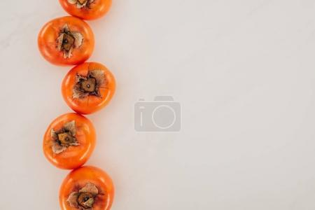 top view of persimmons in row isolated on white