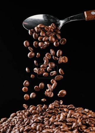 coffee beans falling from spoon on pile isolated on black