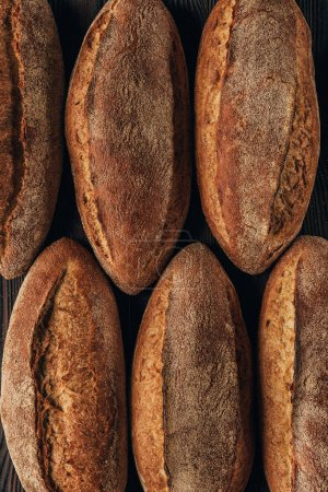 top view of freshly baked arranged loafs of bread