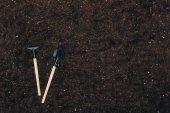 """Постер, картина, фотообои """"вид сверху садовничая инструментов на земле с копией пространства"""""""