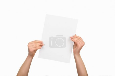 Cropped view of woman holding empty paper isolated on white