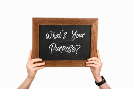 Cropped view of woman hands holding board with lettering whats your purpose isolated on white