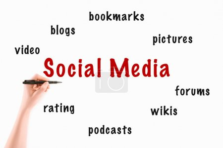 Photo pour Image recadrée de femme écrivant des inscriptions sur les médias sociaux isolés sur blanc - image libre de droit