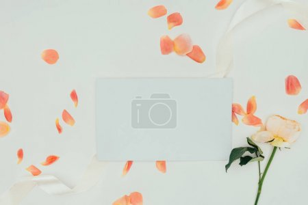 top view of beautiful tender petals with ribbon, rose flower and blank card on grey