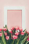 """Постер, картина, фотообои """"Букет красивых розовых тюльпанов с зелеными листьями и пустой белый кадр на розовый"""""""
