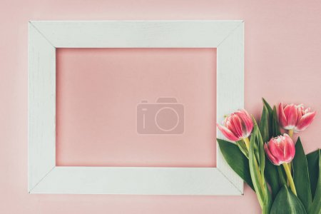 beautiful pink tulips and empty white frame on pink