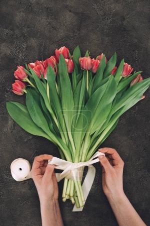 Photo pour Vue partielle de la personne décorant bouquet de belles tulipes avec ruban - image libre de droit