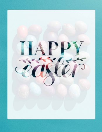food composition with easter eggs in square shape  with happy easter lettering