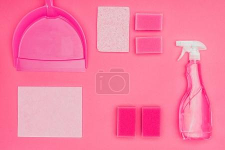 Photo for Top view of washing sponges, scoop and spray bottle isolated on pink - Royalty Free Image