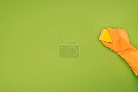 Foto de Imagen recortada de la mujer de la limpieza con lavado esponja aislado en verde - Imagen libre de derechos