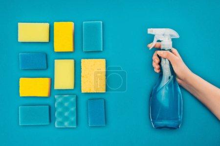 Foto de Imagen recortada de la mujer que sostiene la botella del aerosol cerca de lavar esponjas aisladas en azul - Imagen libre de derechos