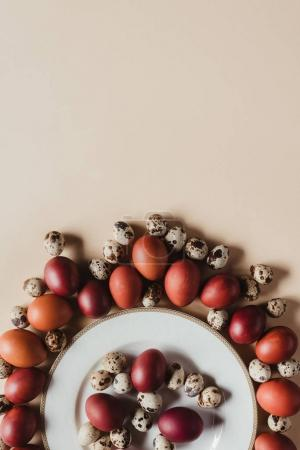 flat lay with quail and chicken easter eggs around plate