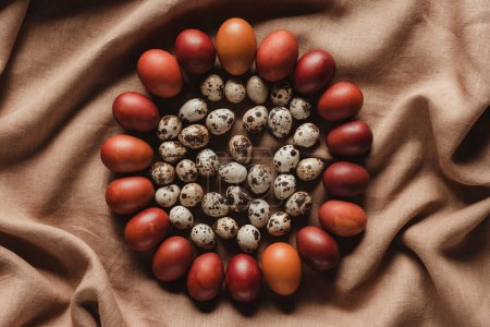 food composition of easter quail eggs in circle of chicken eggs on linen tablecloth