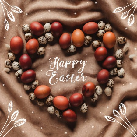 top view of heart shaped frame made of chicken and quail eggs with Happy Easter lettering, stars and floral illustration