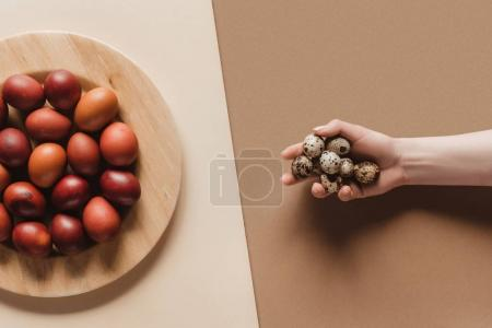 top view of painted easter eggs on plate and person with quail eggs in hand