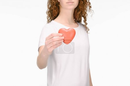 partial view of woman holding red heart isolated on white, world health day concept