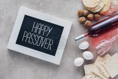 top view of frame with happy passover greeting, Pesah celebration concept