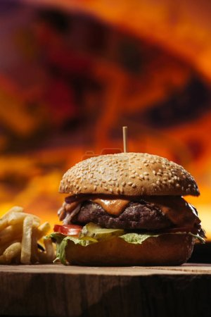 Photo for Close-up view of tasty beef burger with french fries - Royalty Free Image