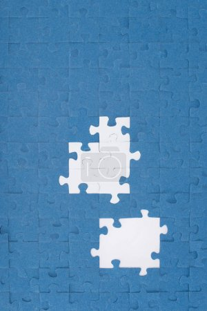 top view of puzzles with missing elements, business concept