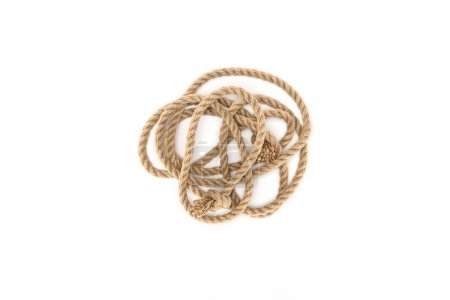 top view of nautical rope with knots isolated on white