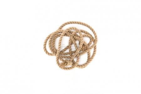 vue de dessus de corde nautique avec noeuds isolé sur blanc