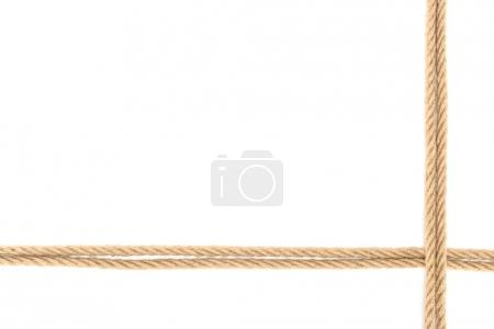 top view of arranged nautical ropes isolated on white