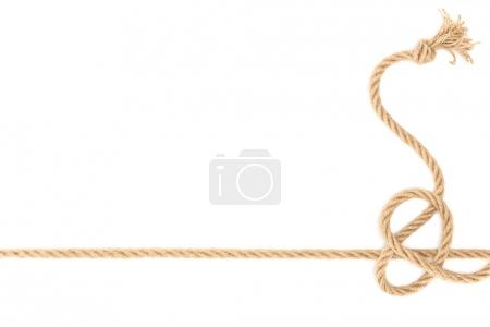 top view of nautical rope with knot isolated on white