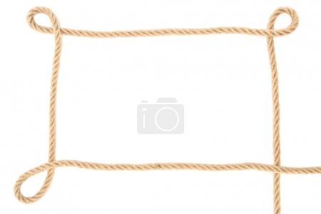 top view of brown nautical rope isolated on white
