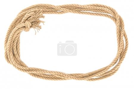 top view of brown nautical rope with knot isolated on white