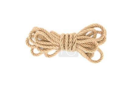 top view of tied nautical rope isolated on white