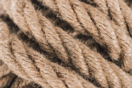 close up view of nautical brown rope