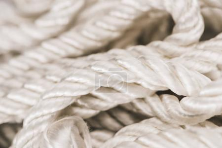 close up view of white nautical rope