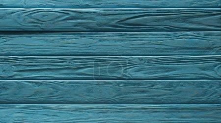 Photo pour Fond de planches horizontales de clôture en bois peint en turquoise - image libre de droit