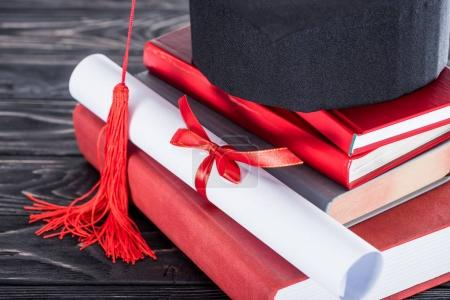Graduation concept diploma and graduation cap on stack of books