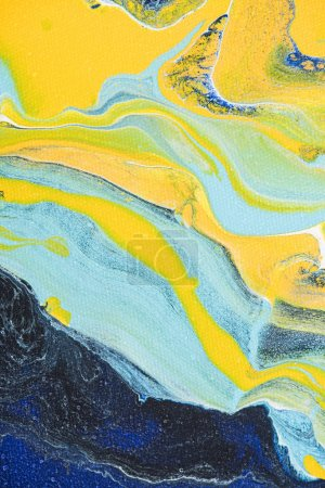 Abstract oil painting with yellow and light blue colors