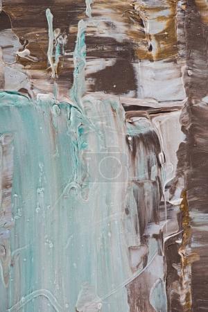 gros plan bleu et marron de coups de pinceau de peinture à l'huile