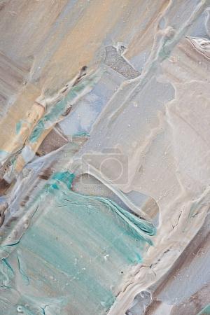 Photo pour Contexte artistique avec des coups de pinceau bleu beige et légère de peinture à l'huile - image libre de droit