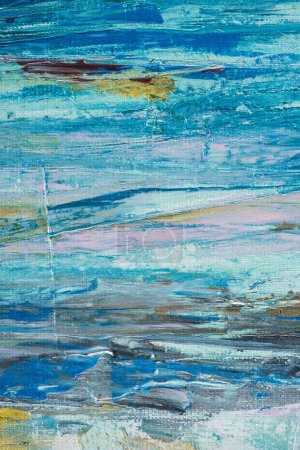 close up of blue brush strokes of oil paint