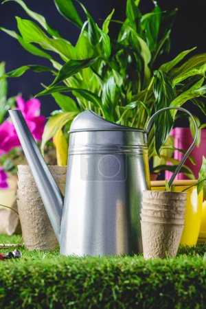 closeup view of watering can and flower pots on grass
