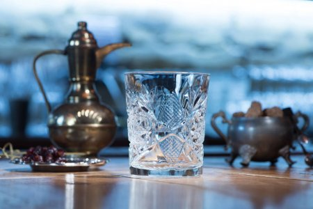 close-up view of empty transparent crystal glass on table