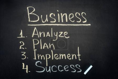 Photo for Business process stages inscription on dark chalkboard - Royalty Free Image