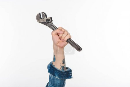 cropped image of male hand holding adjustable wrench isolated on white