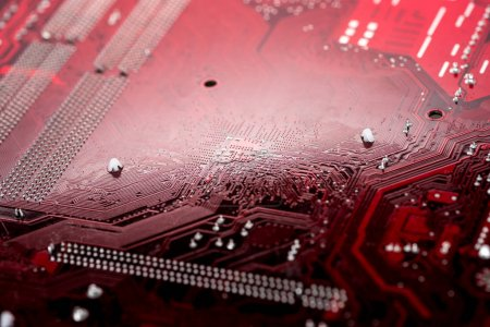Photo for Red computer motherboard with integrated elements - Royalty Free Image