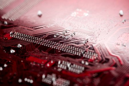 Photo for Typical desktop computer motherboard close-up view - Royalty Free Image
