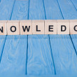 Close up view of knowledge word made of wooden blo...