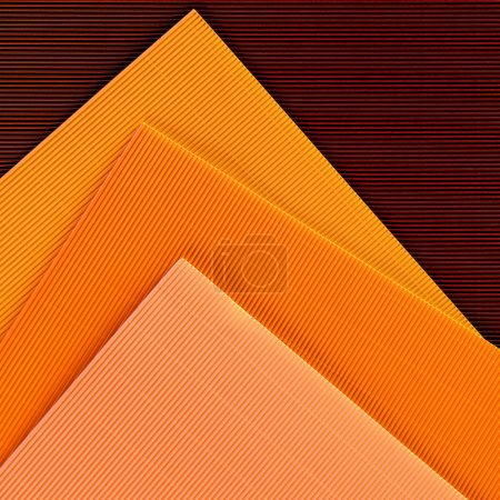 top view of arranged colorful sheets of paper backdrop